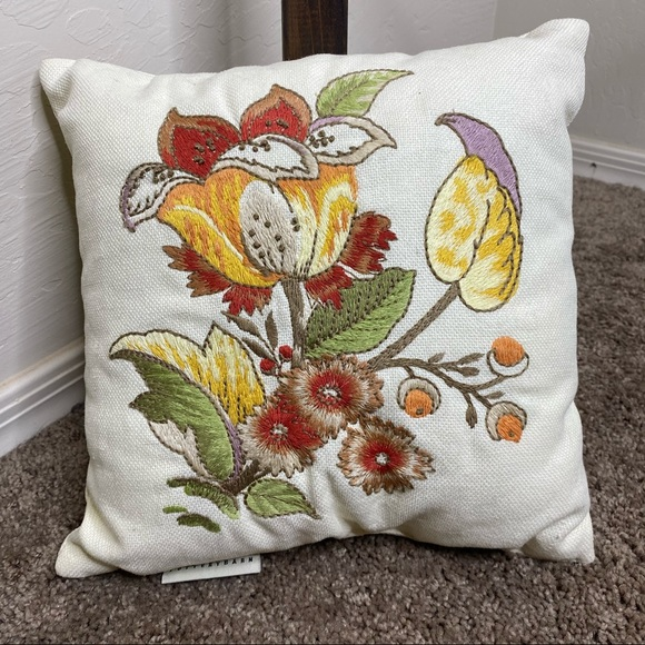 Pottery Barn   Small Embroidered Pillow